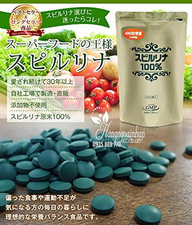 Tảo xoắn Spirulina Algae dạng túi 2400 viên của Nhật Bản 3