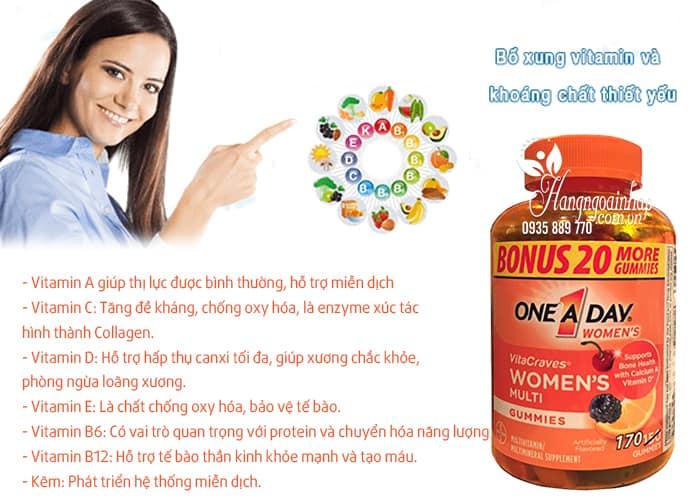 Kẹo Vitamin One A Day Women's Vitacraves Gummies 170 viên của Mỹ 4