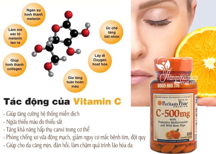 Viên uống Vitamin C 500mg Puritans Pride 100 viên của Mỹ 3