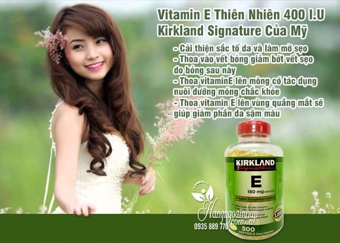 Vitamin E Thiên Nhiên 400 I.U Kirkland Signature 500 Viên Của Mỹ 1`0
