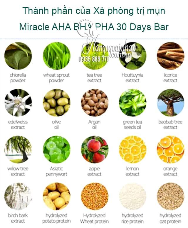 Xà phòng trị mụn Miracle AHA BHA PHA 30 Days Bar Hàn Quốc 2